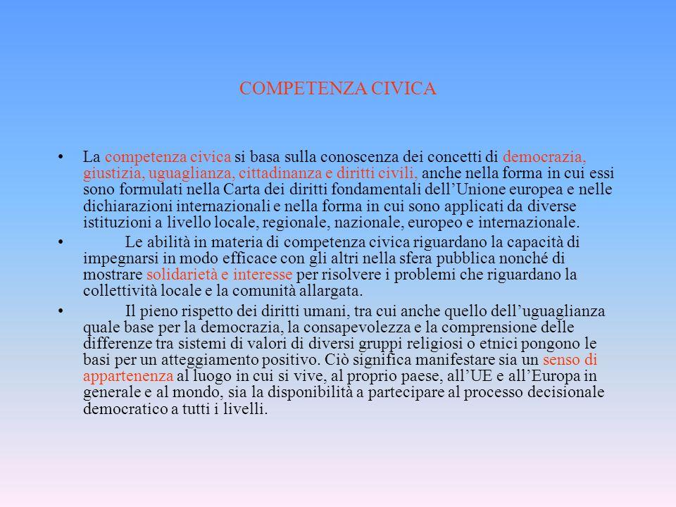 COMPETENZA CIVICA La competenza civica si basa sulla conoscenza dei concetti di democrazia, giustizia, uguaglianza, cittadinanza e diritti civili, anc
