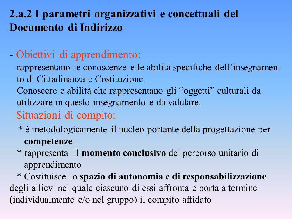 2.a.2 I parametri organizzativi e concettuali del Documento di Indirizzo - Obiettivi di apprendimento: rappresentano le conoscenze e le abilità specif