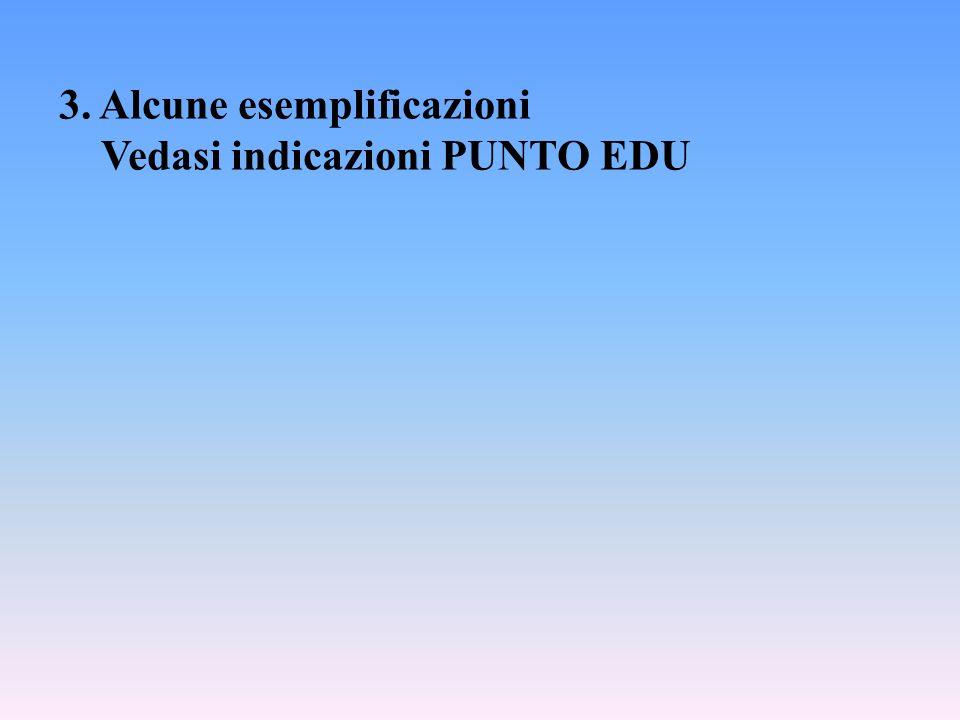 3. Alcune esemplificazioni Vedasi indicazioni PUNTO EDU