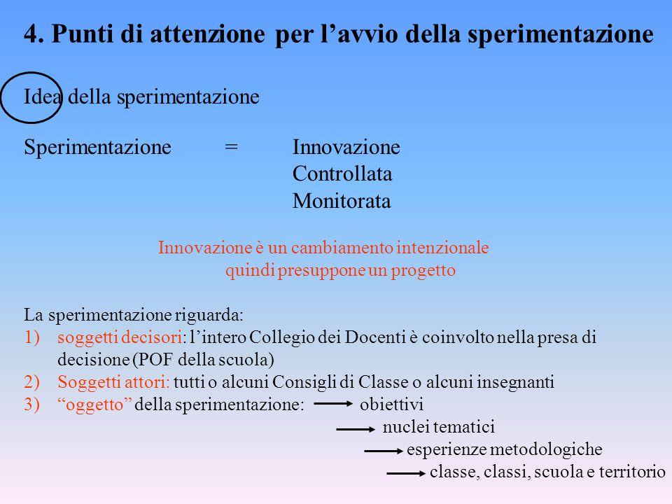 4. Punti di attenzione per lavvio della sperimentazione Idea della sperimentazione Sperimentazione =Innovazione Controllata Monitorata Innovazione è u