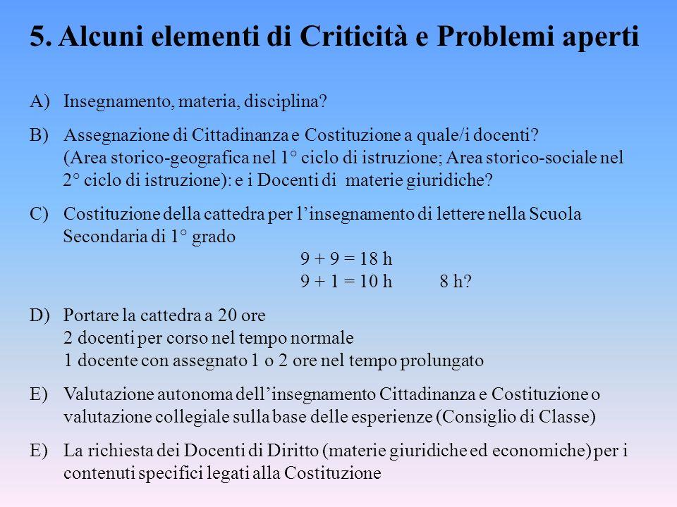 5. Alcuni elementi di Criticità e Problemi aperti A)Insegnamento, materia, disciplina? B)Assegnazione di Cittadinanza e Costituzione a quale/i docenti