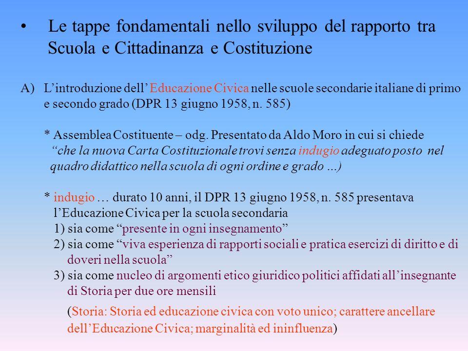 Le tappe fondamentali nello sviluppo del rapporto tra Scuola e Cittadinanza e Costituzione A)Lintroduzione dell Educazione Civica nelle scuole seconda