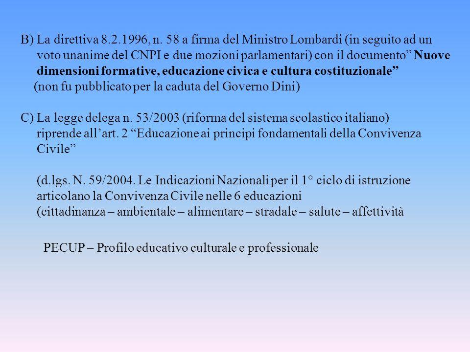 B) La direttiva 8.2.1996, n. 58 a firma del Ministro Lombardi (in seguito ad un voto unanime del CNPI e due mozioni parlamentari) con il documento Nuo