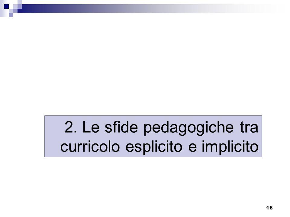 16 2. Le sfide pedagogiche tra curricolo esplicito e implicito