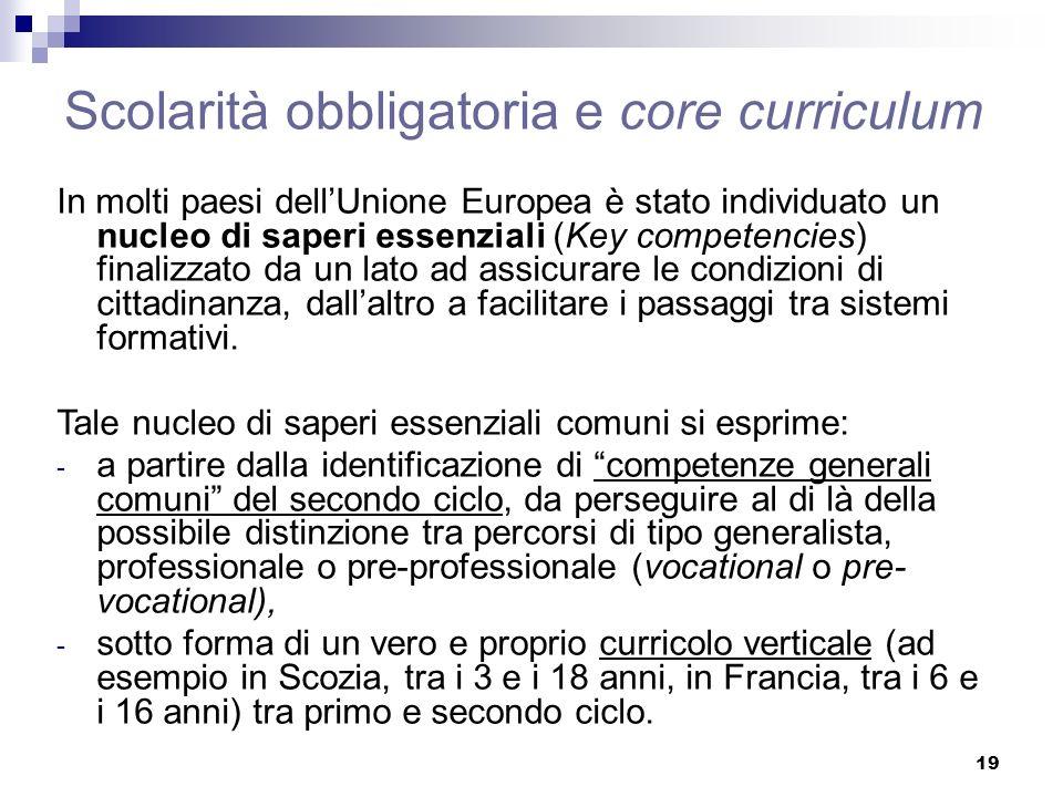 19 Scolarità obbligatoria e core curriculum In molti paesi dellUnione Europea è stato individuato un nucleo di saperi essenziali (Key competencies) fi
