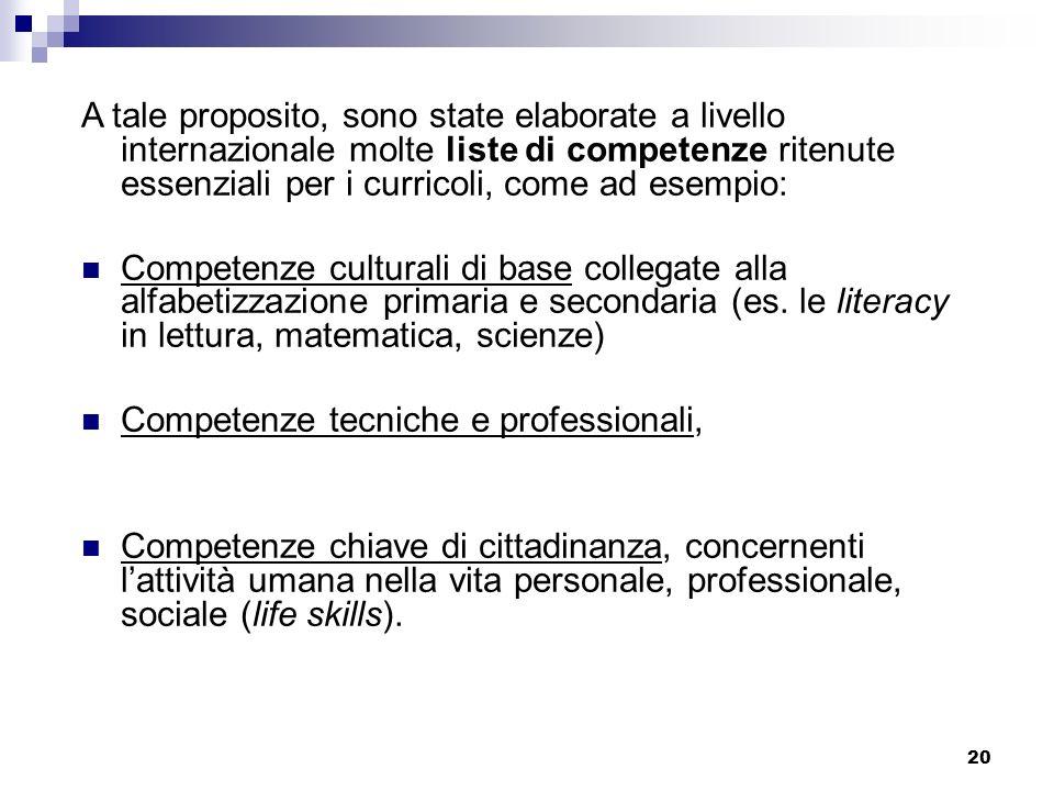 20 A tale proposito, sono state elaborate a livello internazionale molte liste di competenze ritenute essenziali per i curricoli, come ad esempio: Com