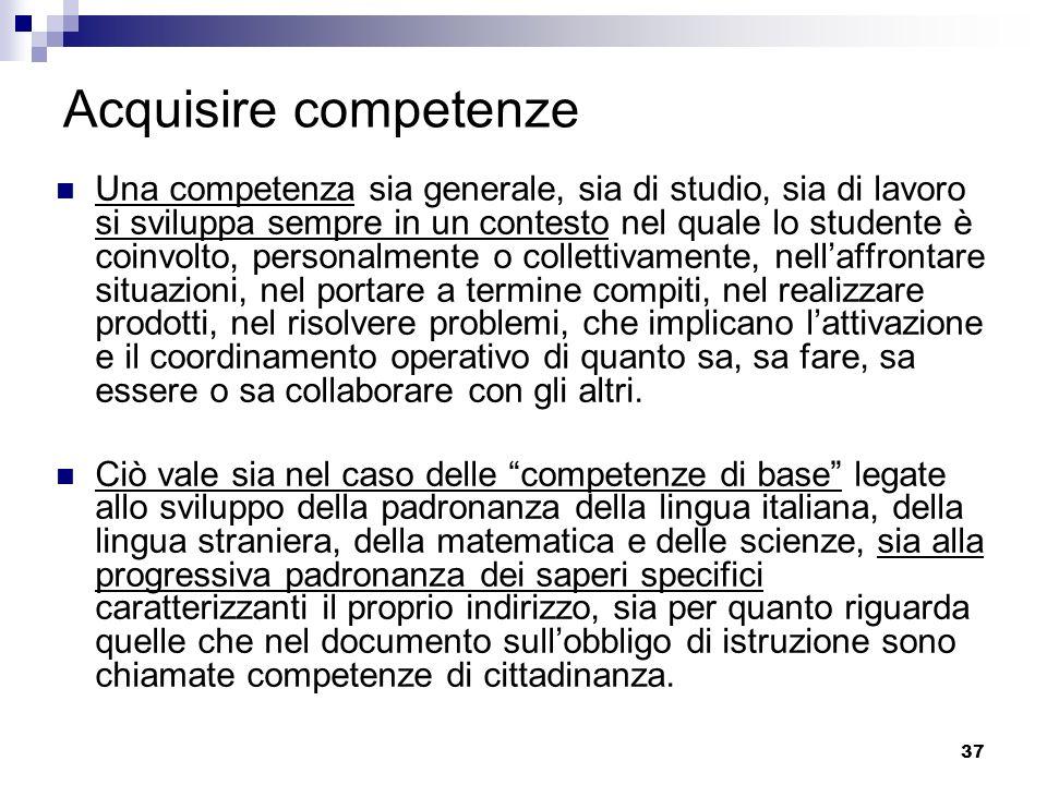 37 Acquisire competenze Una competenza sia generale, sia di studio, sia di lavoro si sviluppa sempre in un contesto nel quale lo studente è coinvolto,