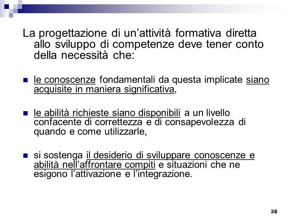 38 La progettazione di unattività formativa diretta allo sviluppo di competenze deve tener conto della necessità che: le conoscenze fondamentali da qu