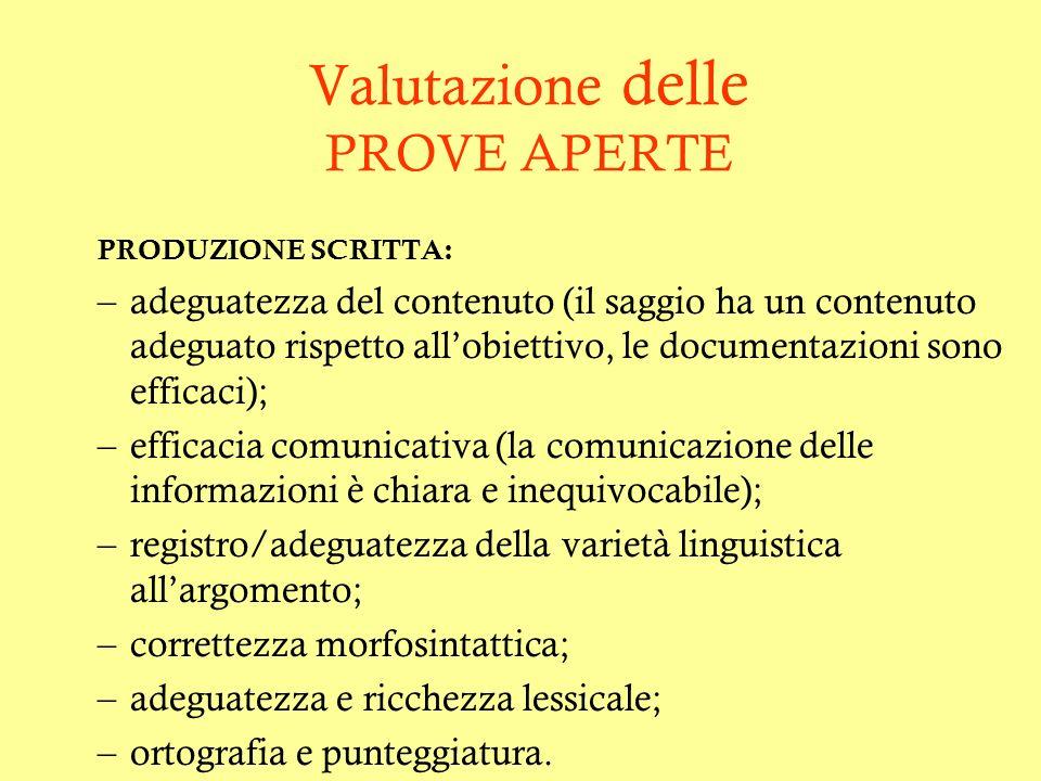 Valutazione delle PROVE APERTE PRODUZIONE SCRITTA: –adeguatezza del contenuto (il saggio ha un contenuto adeguato rispetto allobiettivo, le documentaz