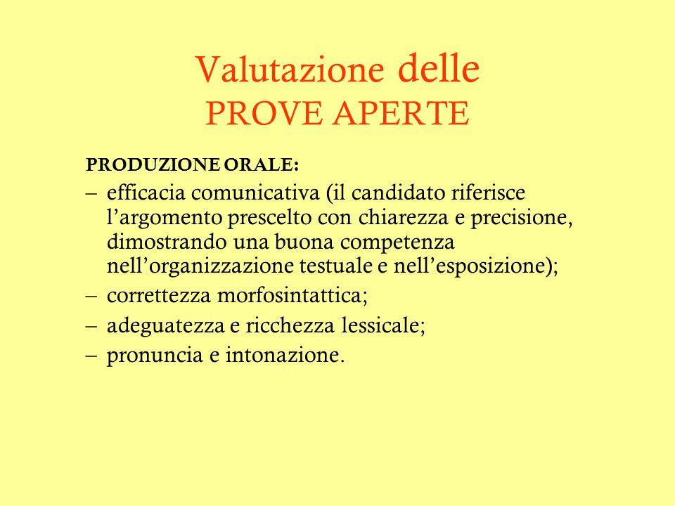 Valutazione delle PROVE APERTE PRODUZIONE ORALE: –efficacia comunicativa (il candidato riferisce largomento prescelto con chiarezza e precisione, dimo