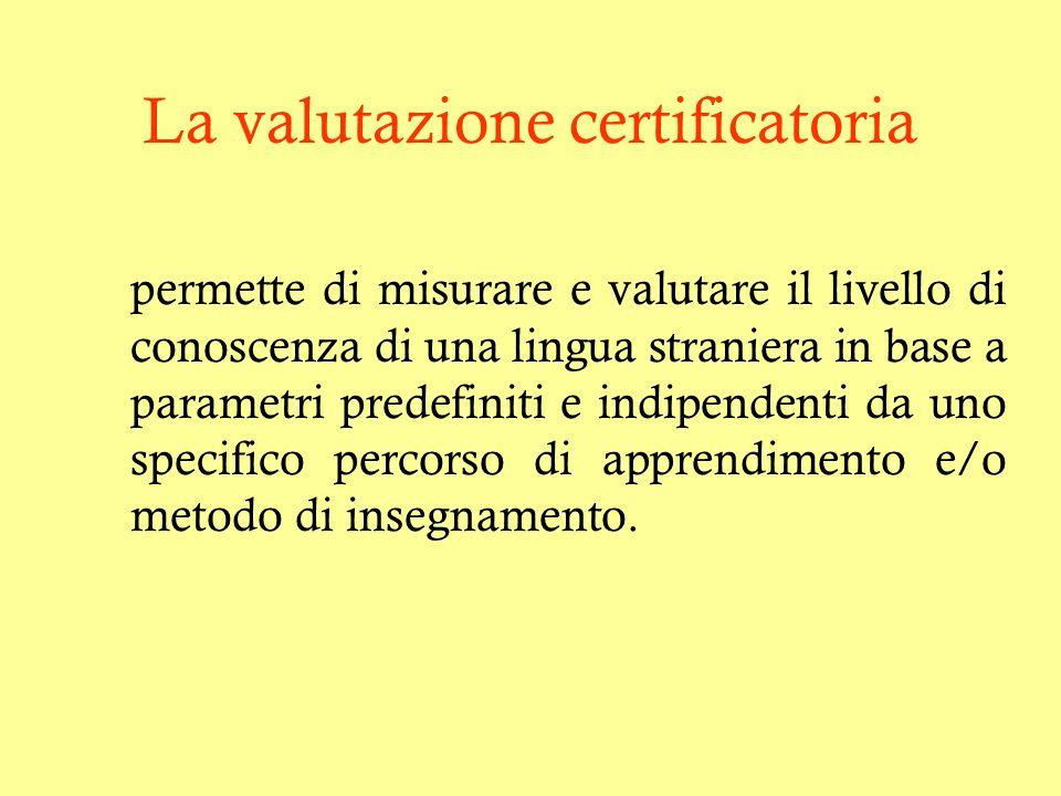 La valutazione certificatoria permette di misurare e valutare il livello di conoscenza di una lingua straniera in base a parametri predefiniti e indip