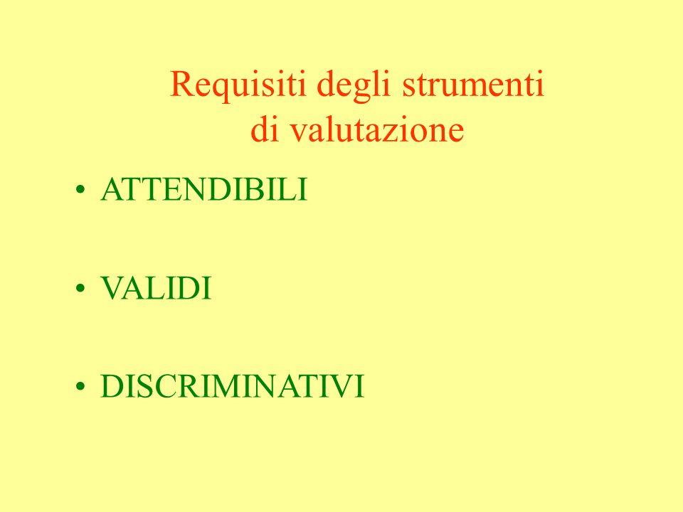 Requisiti degli strumenti di valutazione ATTENDIBILI VALIDI DISCRIMINATIVI