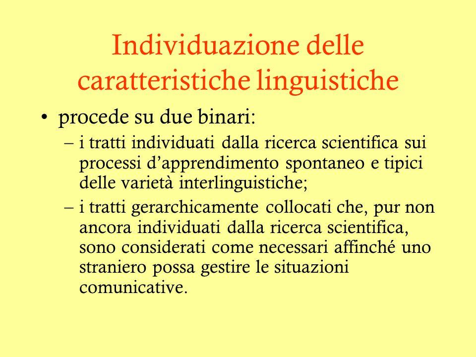 Individuazione delle caratteristiche linguistiche procede su due binari: –i tratti individuati dalla ricerca scientifica sui processi dapprendimento s