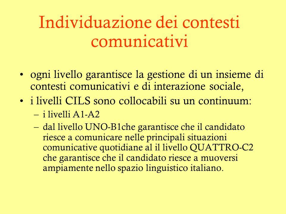 Individuazione dei contesti comunicativi ogni livello garantisce la gestione di un insieme di contesti comunicativi e di interazione sociale, i livell