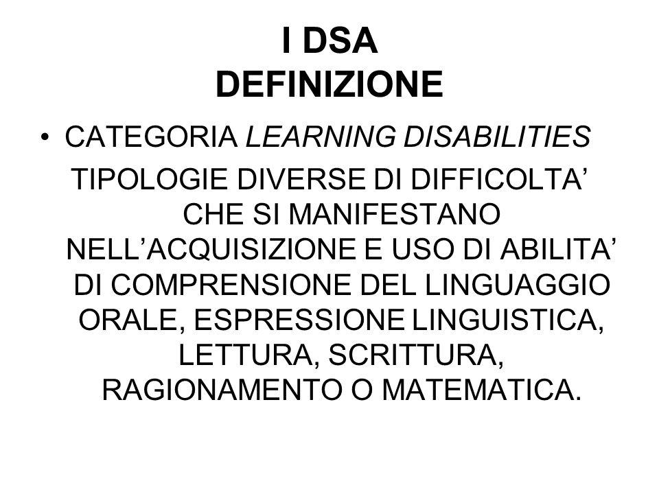 I DSA DEFINIZIONE CATEGORIA LEARNING DISABILITIES TIPOLOGIE DIVERSE DI DIFFICOLTA CHE SI MANIFESTANO NELLACQUISIZIONE E USO DI ABILITA DI COMPRENSIONE