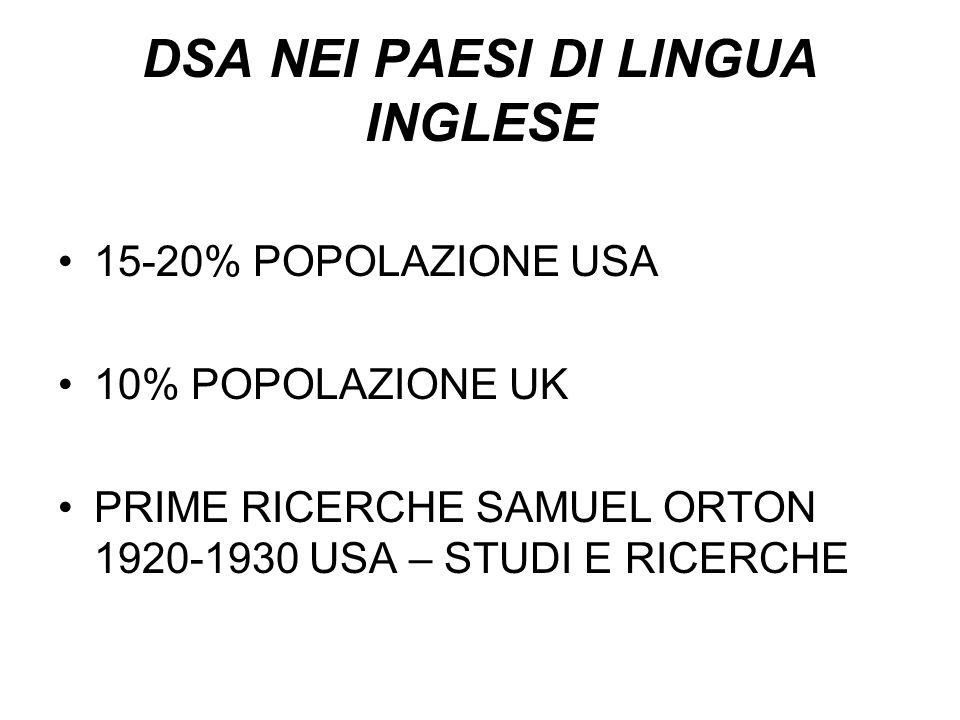 DSA NEI PAESI DI LINGUA INGLESE 15-20% POPOLAZIONE USA 10% POPOLAZIONE UK PRIME RICERCHE SAMUEL ORTON 1920-1930 USA – STUDI E RICERCHE