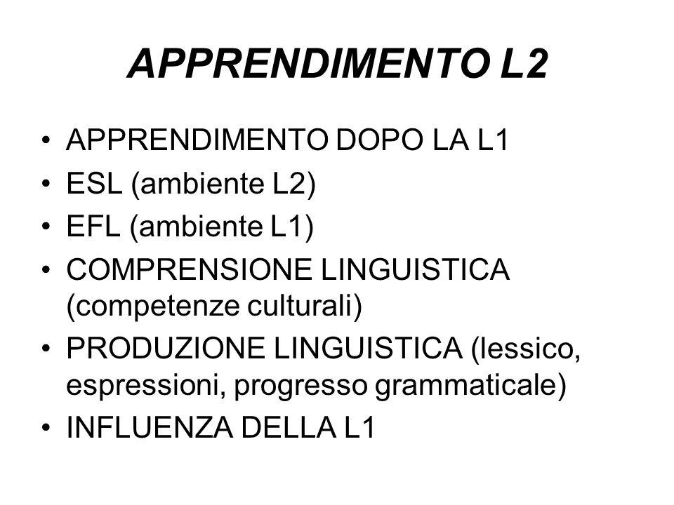 APPRENDIMENTO L2 APPRENDIMENTO DOPO LA L1 ESL (ambiente L2) EFL (ambiente L1) COMPRENSIONE LINGUISTICA (competenze culturali) PRODUZIONE LINGUISTICA (