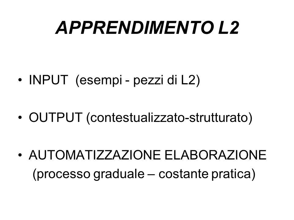 APPRENDIMENTO L2 INPUT (esempi - pezzi di L2) OUTPUT (contestualizzato-strutturato) AUTOMATIZZAZIONE ELABORAZIONE (processo graduale – costante pratic