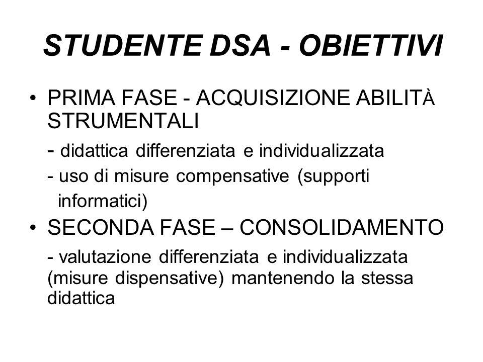 STUDENTE DSA - OBIETTIVI PRIMA FASE - ACQUISIZIONE ABILIT À STRUMENTALI - didattica differenziata e individualizzata - uso di misure compensative (sup