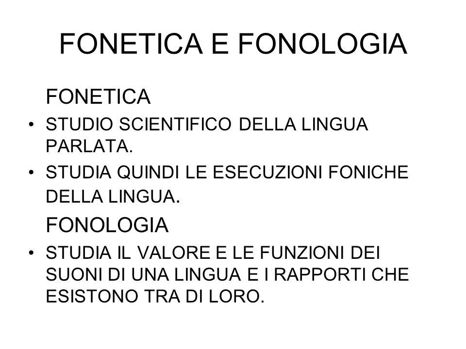 FONETICA E FONOLOGIA FONETICA STUDIO SCIENTIFICO DELLA LINGUA PARLATA. STUDIA QUINDI LE ESECUZIONI FONICHE DELLA LINGUA. FONOLOGIA STUDIA IL VALORE E