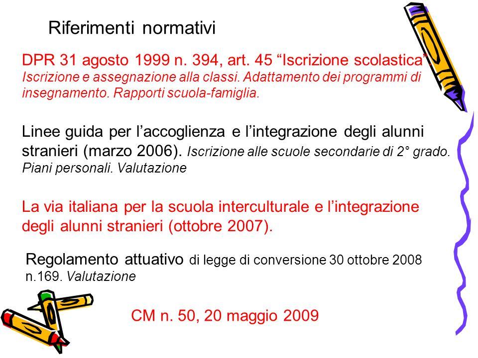 Riferimenti normativi DPR 31 agosto 1999 n.394, art.
