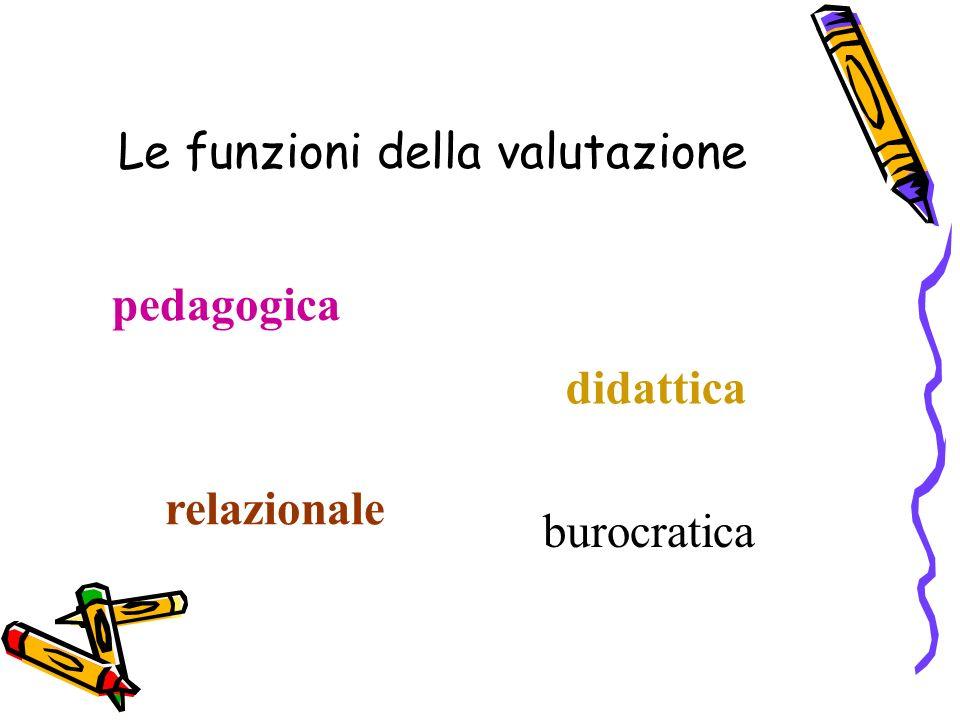 pedagogica didattica relazionale burocratica Le funzioni della valutazione