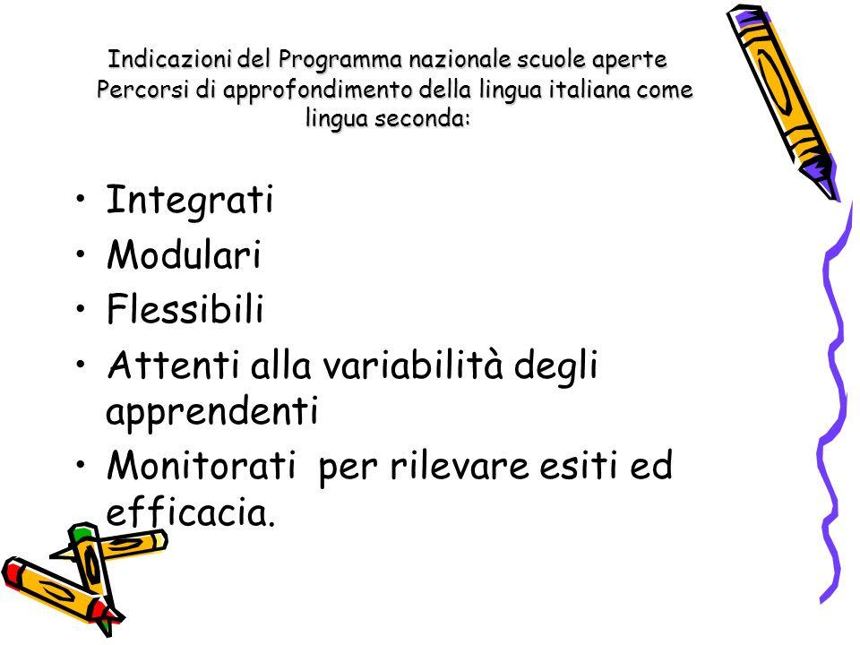 Indicazioni del Programma nazionale scuole aperte Percorsi di approfondimento della lingua italiana come lingua seconda: Integrati Modulari Flessibili Attenti alla variabilità degli apprendenti Monitorati per rilevare esiti ed efficacia.