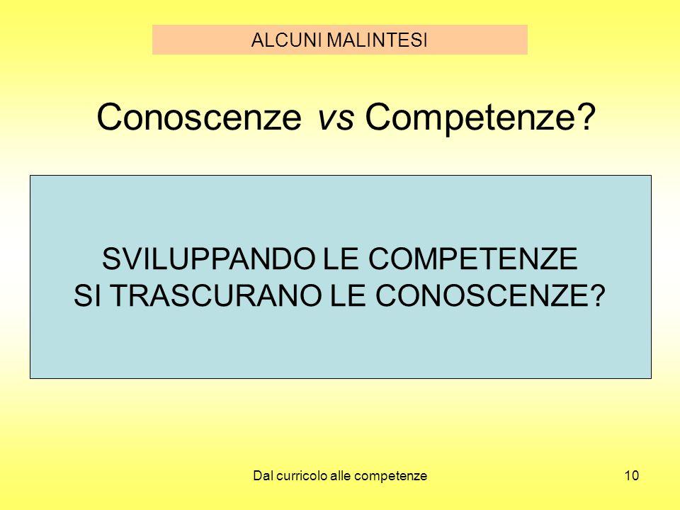 Dal curricolo alle competenze10 Conoscenze vs Competenze? SVILUPPANDO LE COMPETENZE SI TRASCURANO LE CONOSCENZE? ALCUNI MALINTESI