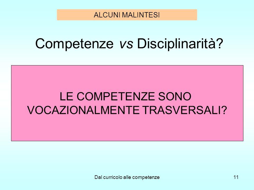 Dal curricolo alle competenze11 Competenze vs Disciplinarità? LE COMPETENZE SONO VOCAZIONALMENTE TRASVERSALI? ALCUNI MALINTESI