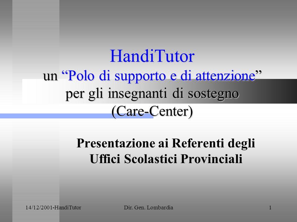 14/12/2001-HandiTutorDir.Gen. Lombardia2 Il gruppo di progetto Prof.