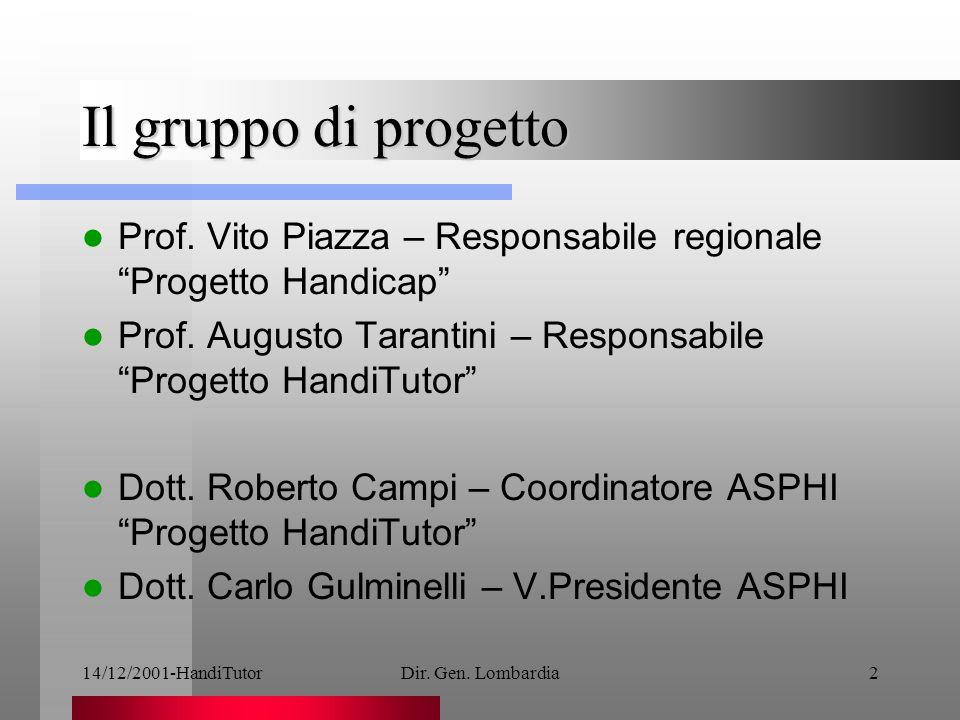 14/12/2001-HandiTutorDir. Gen. Lombardia2 Il gruppo di progetto Prof.