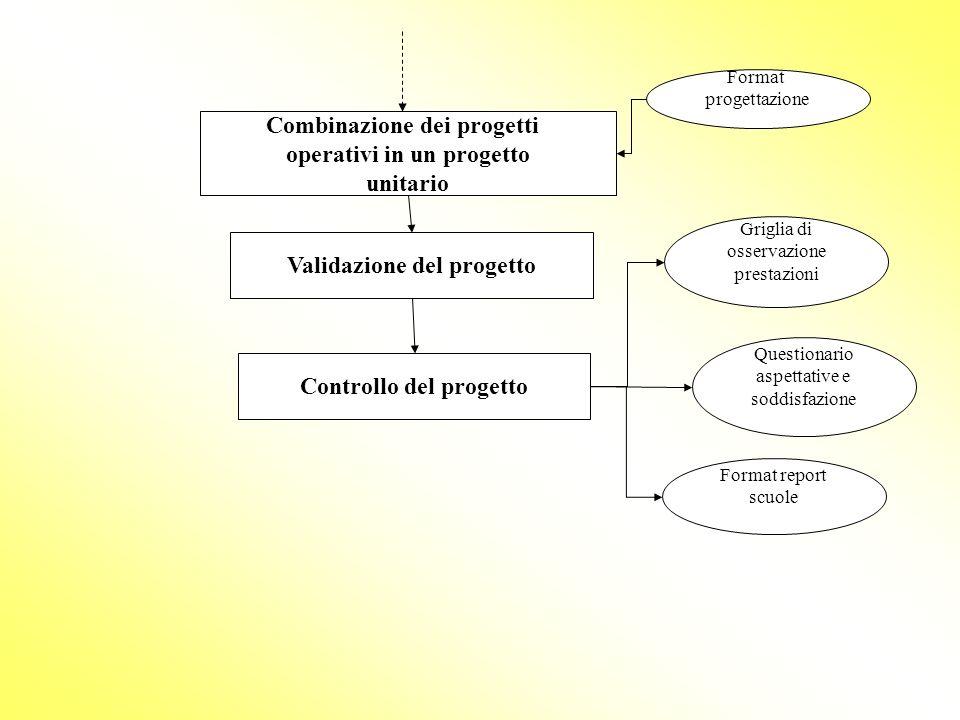 Combinazione dei progetti operativi in un progetto unitario Validazione del progetto Format progettazione Controllo del progetto Griglia di osservazio