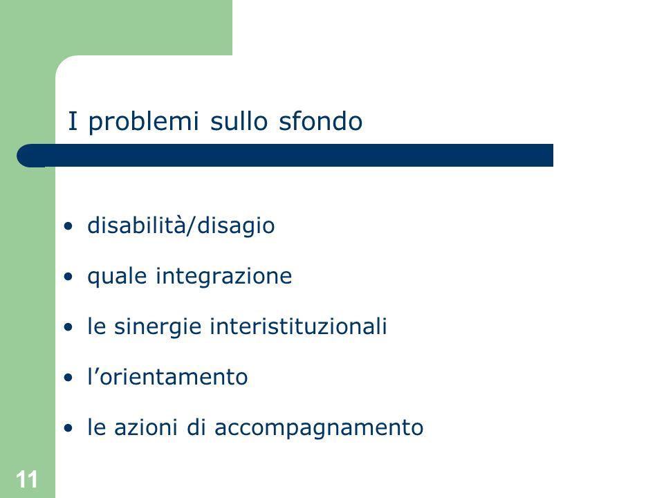 11 I problemi sullo sfondo disabilità/disagio quale integrazione le sinergie interistituzionali lorientamento le azioni di accompagnamento