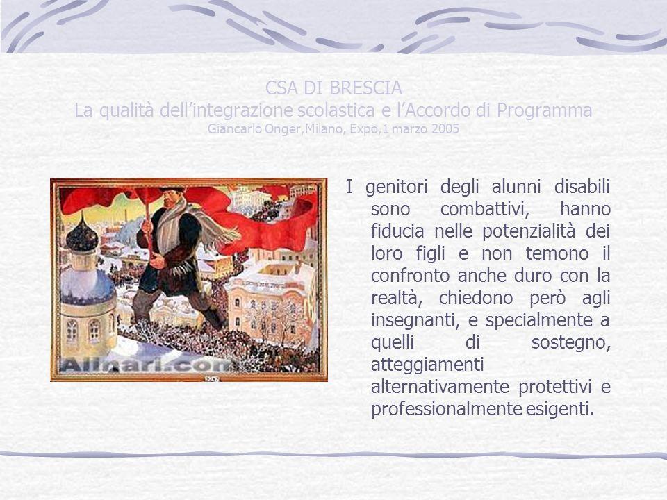 CSA DI BRESCIA La qualità dellintegrazione scolastica e lAccordo di Programma Giancarlo Onger,Milano, Expo,1 marzo 2005 I genitori degli alunni disabili sono combattivi, hanno fiducia nelle potenzialità dei loro figli e non temono il confronto anche duro con la realtà, chiedono però agli insegnanti, e specialmente a quelli di sostegno, atteggiamenti alternativamente protettivi e professionalmente esigenti.