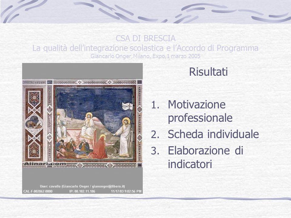 CSA DI BRESCIA La qualità dellintegrazione scolastica e lAccordo di Programma Giancarlo Onger,Milano, Expo,1 marzo 2005 QUALI INDICATORI.