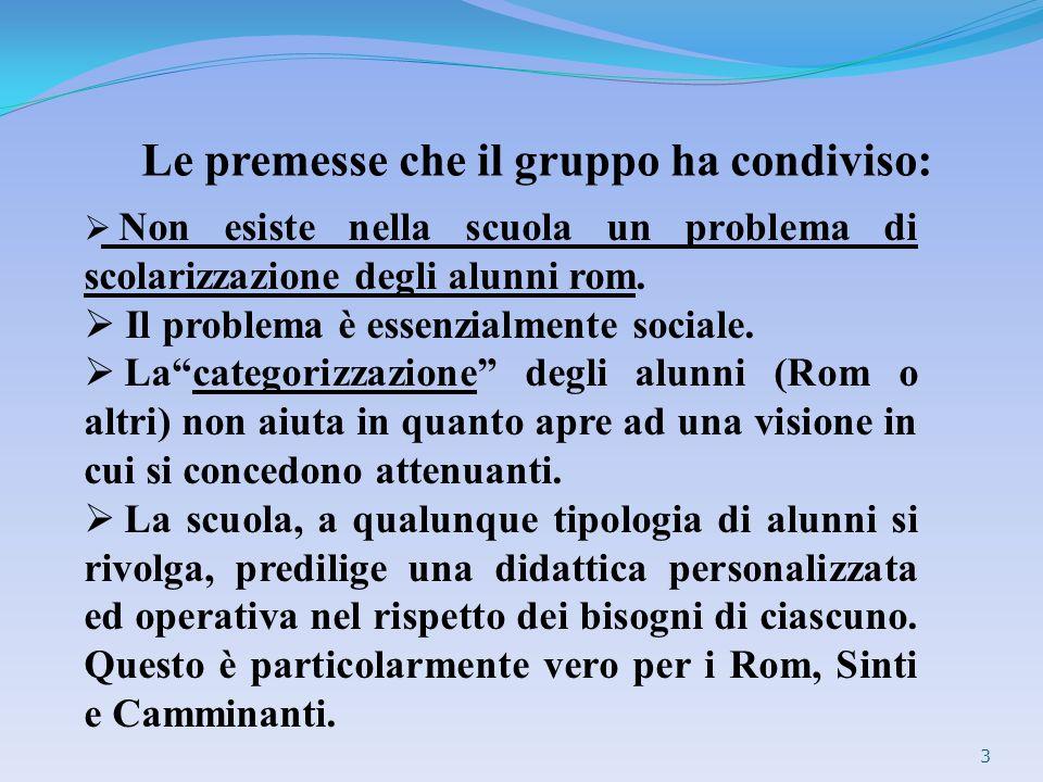 Le premesse che il gruppo ha condiviso: 3 Non esiste nella scuola un problema di scolarizzazione degli alunni rom. Il problema è essenzialmente social