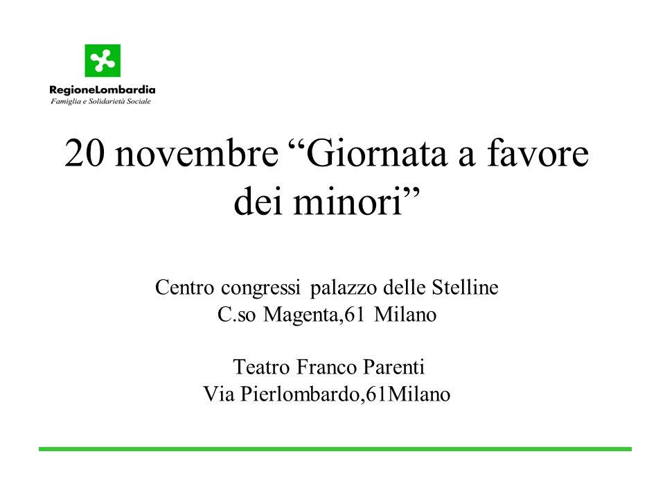 20 novembre Giornata a favore dei minori Centro congressi palazzo delle Stelline C.so Magenta,61 Milano Teatro Franco Parenti Via Pierlombardo,61Milano