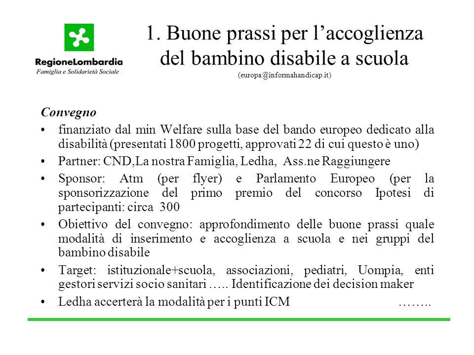 1. Buone prassi per laccoglienza del bambino disabile a scuola (europa@informahandicap.it) Convegno finanziato dal min Welfare sulla base del bando eu