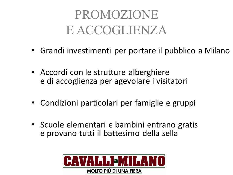 PROMOZIONE E ACCOGLIENZA Grandi investimenti per portare il pubblico a Milano Accordi con le strutture alberghiere e di accoglienza per agevolare i vi