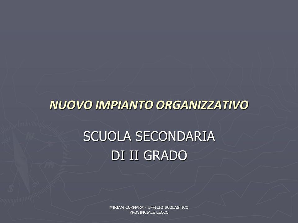 NUOVO IMPIANTO ORGANIZZATIVO SCUOLA SECONDARIA DI II GRADO MIRIAM CORNARA - UFFICIO SCOLASTICO PROVINCIALE LECCO