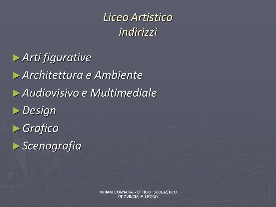 Liceo Artistico indirizzi Arti figurative Arti figurative Architettura e Ambiente Architettura e Ambiente Audiovisivo e Multimediale Audiovisivo e Mul