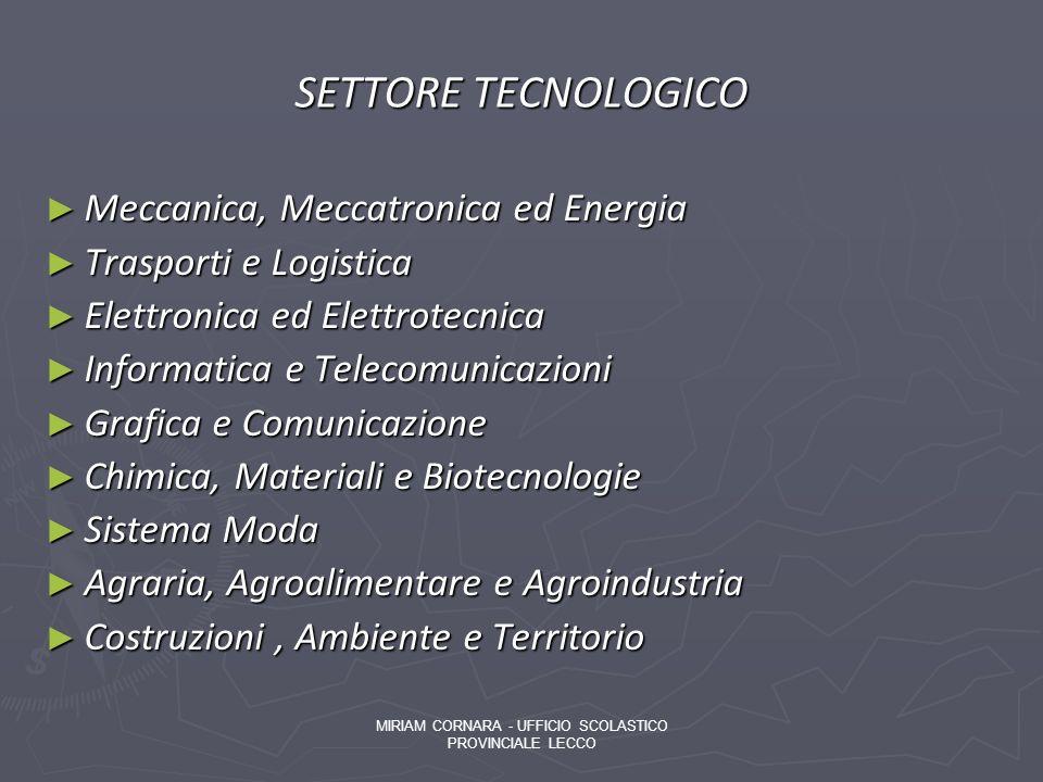 SETTORE TECNOLOGICO Meccanica, Meccatronica ed Energia Meccanica, Meccatronica ed Energia Trasporti e Logistica Trasporti e Logistica Elettronica ed E
