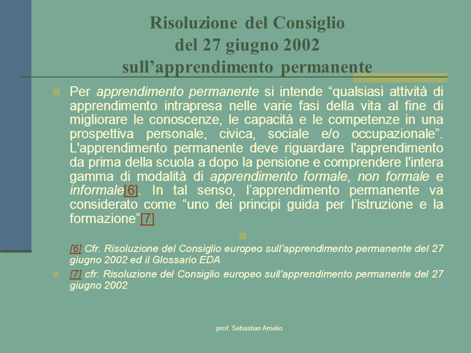 prof. Sebastian Amelio Risoluzione del Consiglio del 27 giugno 2002 sullapprendimento permanente Per apprendimento permanente si intende qualsiasi att