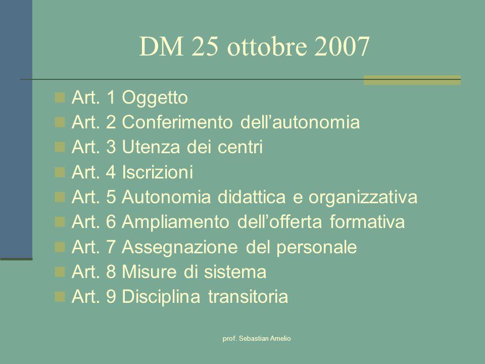 prof. Sebastian Amelio DM 25 ottobre 2007 Art. 1 Oggetto Art. 2 Conferimento dellautonomia Art. 3 Utenza dei centri Art. 4 Iscrizioni Art. 5 Autonomia
