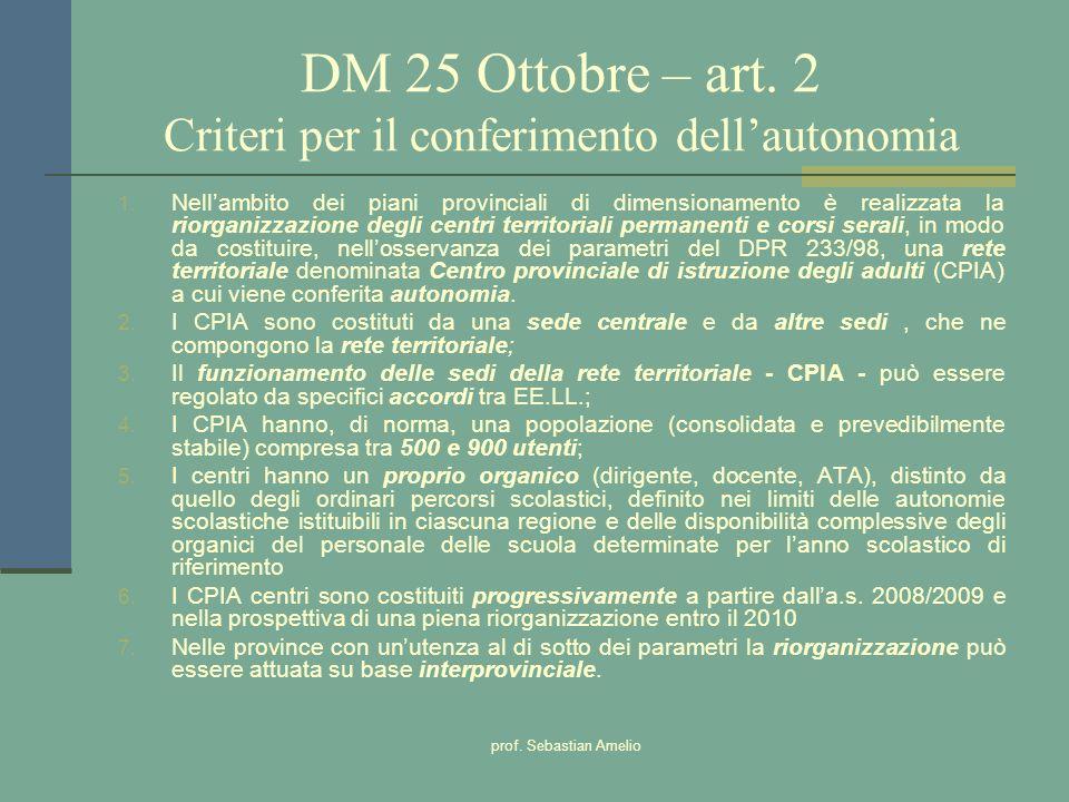prof. Sebastian Amelio DM 25 Ottobre – art. 2 Criteri per il conferimento dellautonomia 1. Nellambito dei piani provinciali di dimensionamento è reali
