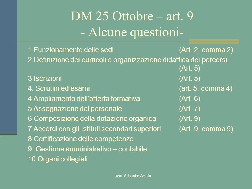 prof. Sebastian Amelio DM 25 Ottobre – art. 9 - Alcune questioni- 1 Funzionamento delle sedi (Art. 2, comma 2) 2.Definizione dei curricoli e organizza