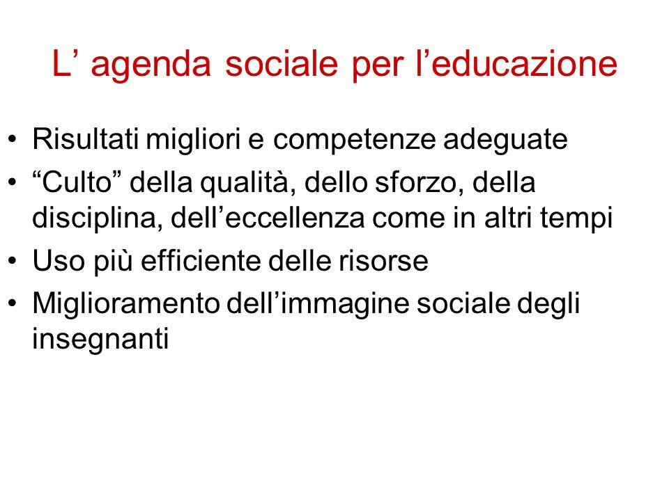 L agenda sociale per leducazione Risultati migliori e competenze adeguate Culto della qualità, dello sforzo, della disciplina, delleccellenza come in altri tempi Uso più efficiente delle risorse Miglioramento dellimmagine sociale degli insegnanti