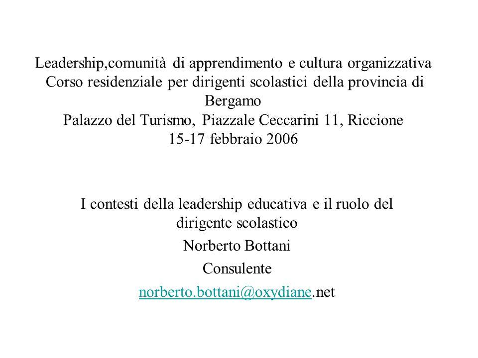 Leadership,comunità di apprendimento e cultura organizzativa Corso residenziale per dirigenti scolastici della provincia di Bergamo Palazzo del Turism