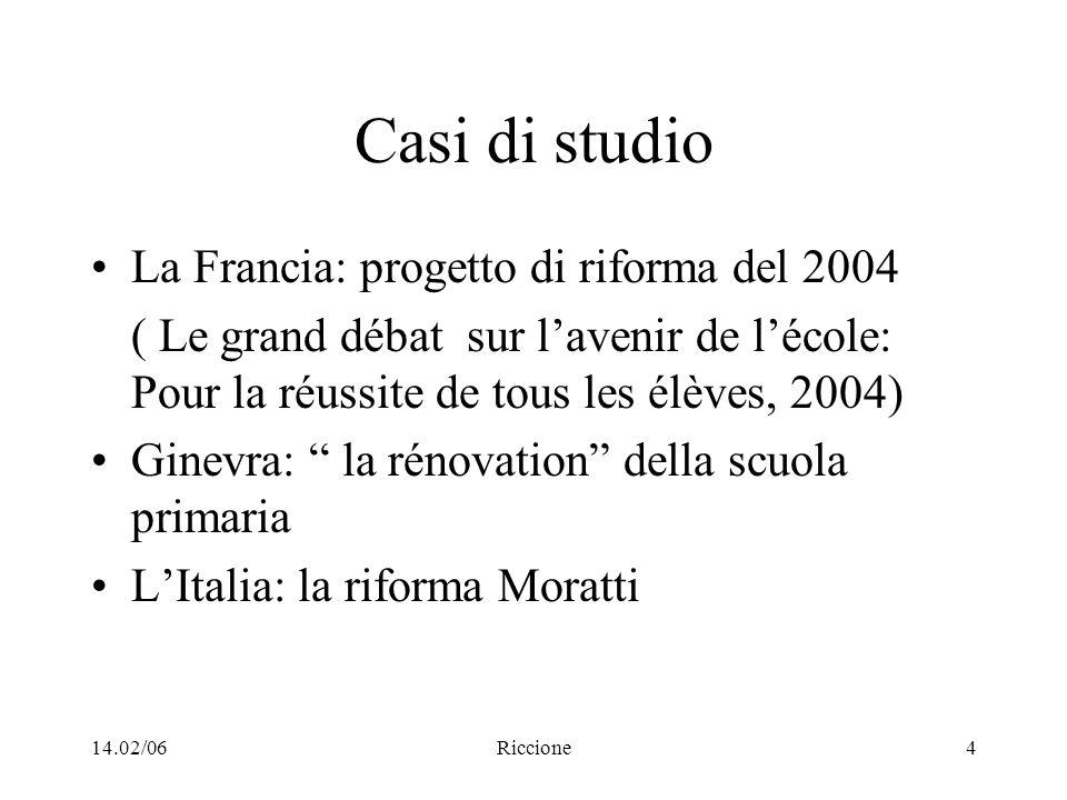14.02/06Riccione4 Casi di studio La Francia: progetto di riforma del 2004 ( Le grand débat sur lavenir de lécole: Pour la réussite de tous les élèves,