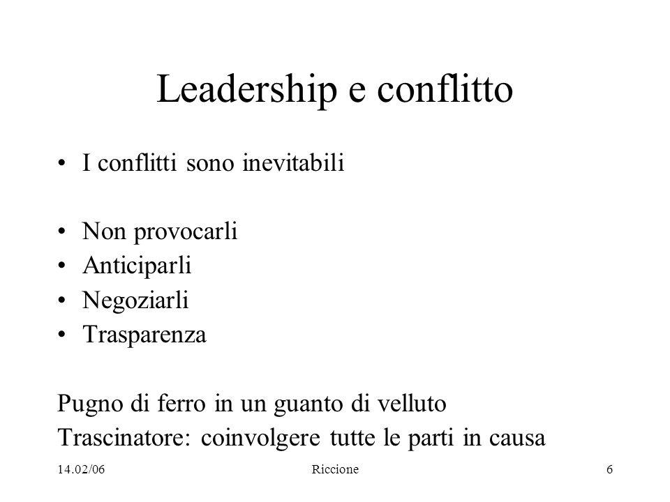 14.02/06Riccione6 Leadership e conflitto I conflitti sono inevitabili Non provocarli Anticiparli Negoziarli Trasparenza Pugno di ferro in un guanto di